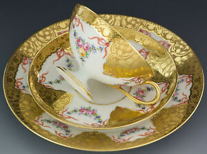 Limoges Hand Painted Roses Trio Cup Saucer Plate