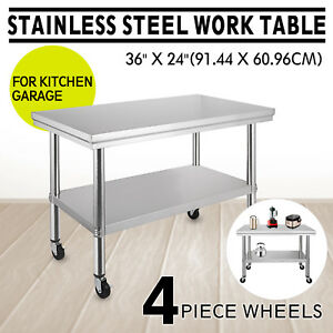 36 x24 Stainless Steel Work Table 4 Casters Janitorial Room Restaurant Silver
