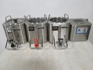 Lot Of 4 amw H d Commercial S s 3 Coffee Dispensers 1 Docking Warmer