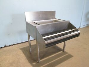 Under Counter Stainless Steel Modular Bar Ice Bin With 2 Tier Bottle Rail