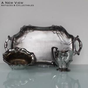 Art Nouveau Orivit Wmf Serving Dish With Cream Sugar Set