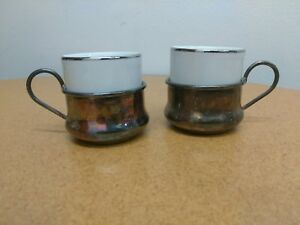 Vintage Sterling Silver Plated Cup Holder Italy W Coffee Expresso Cups Arg 1000