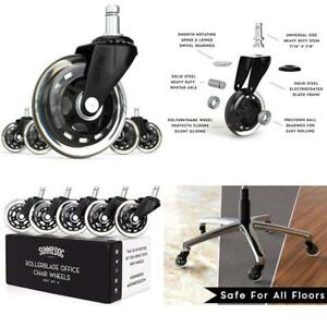 Sunniedog Replacement Office Chair Wheels 3 inch Rollerblade Style Rubber Caster
