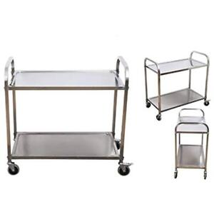 Stainless Steel Kitchen Islands Carts 2 shelf Utility Service Storage For 400