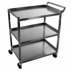 New Utility 3 tier Bus Cart Stainless Steel Gsw C 31k Dish Rack 3902 Clean Roll