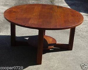 Genuine Antique L Jg Stickley Large Round 36 Table Quartersawn Oak