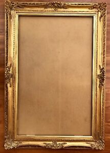 Fantastic French Louis Style Antique Gold Wood Gesso Art Frame Cove 48x30 Huge