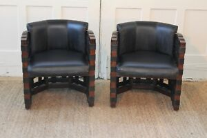 Pair Mid Century Woven Strap Club Barrel Lounge Accent Chairs Manner Of Pearsall