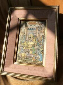 Antique Indian Persian Large Miniature 19th C Gouache Painting Mughal Emperor