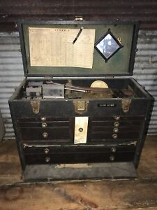 Full Antique Gerstner Tool Chest Starrett Lufkin Browne Sharp Machinist Tools