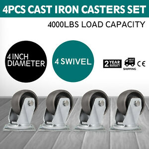 4 Swivel Cast Iron Casters Set Of 4 1000lbs Freight Terminals Heavy Duty