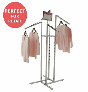 Clothing Rack Heavy Duty Chrome 4 Way Rack Adjustable Arms Square Tubing