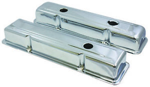 Sb Chevy Sbc Short Chrome 3 Hole Style Steel Valve Covers 59 86 350 W Oil Cap