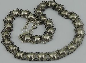 Chinese Silver Necklace Choker Filigree Chain Characters Signed Applied Hearts