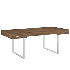 Modway Tinker Contemporary Modern Wood And Stainless Steel Office Desk With Two