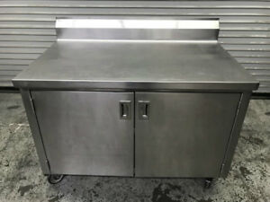 48 X 30 All Stainless Steel Table Cabinet Work Top Cart 8907 Stroage Prep Nsf