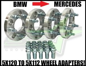 5x120 To 5x112 Wheel Adapters 17mm 20 Lug Bolts 12x1 5 Stud Bmw To Mercedes