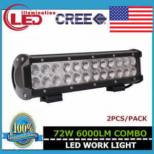 2x 12inch 72w Cree Led Light Bar Offroad Driving Ford Combo Fog 4wd Jeep Suv 14