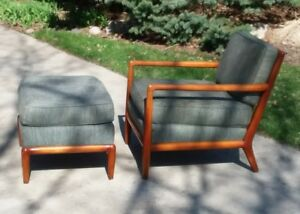 T H Robsjohn Gibbings Style Lounge Arm Chair And Footstool