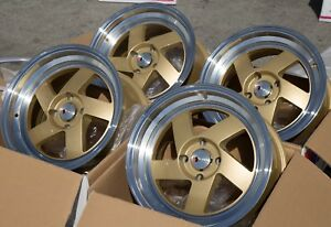 Used Set 15x8 25 F1r F08 4x100 4x114 3 Gold Rims Fits Miata Bmw E30 Civic