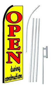Open During Construction Swooper Feather Banner Sign Flag Complete 15 Kit