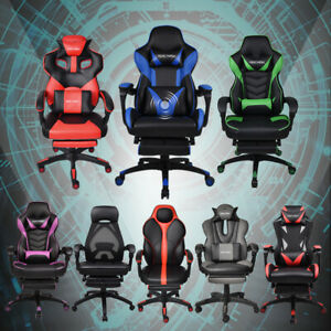Office Gaming Racing Chair High Back Ergonomic Recliner Bucket Seat Footrest
