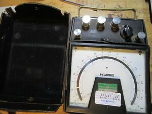 Vintage Westinghouse Pa 161 Ac Amperes Meter Amps Leather Case Tester