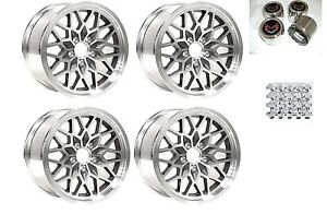 Trans Am 17x9 Snowflake Wheels Stainless Caps W Red Logo Lug Nuts Gray Kit