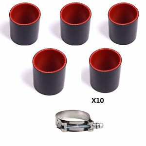 5pcs 3 2 5 2 76mm 63mm 51mm Silicone Hose 10pcs Stainless Steel T bolt Clamp
