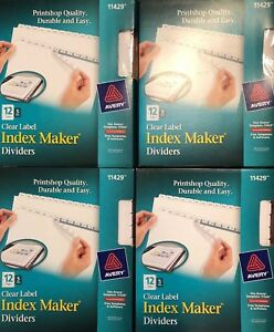 Lot Of 4 Avery 11429 Clear Label Index Maker Dividers 12 Tabs 5 Sets Per Pkg Nwt