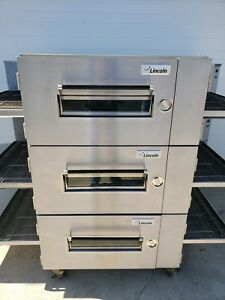 Lincoln Impinger 1600 Triple Deck Gas Conveyor Pizza Ovens belt Width 32