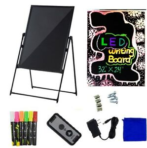 32x24 Flash Illuminated Erasable Neon Led Standing Support Sign Writing Board