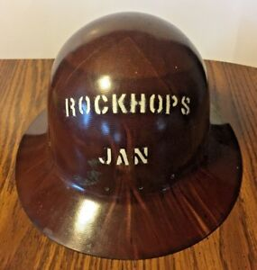 Vntg Brown Fiberglass Swirl Full Brim Safety Helmet Msa Hard Hat No Suspension