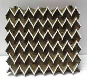 Intage Wooden Hand Carved Textile Fabric Printer Block Stamp Zig Zag Chevron