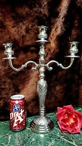 Fab Ornately Detailed Silver Plate 3 Arm Candelabra Hand Crafted India New