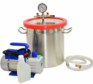 New 3 Gallon Vacuum Chamber And 3 Cfm Single Stage Pump To Degassing Silicone
