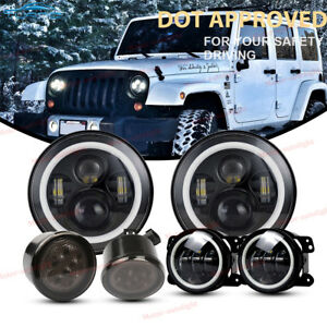 7 Led Headlight Smoke Turn Signal Front Lamp 4 Fog Light For Jeep Wrangler