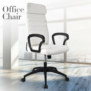 High Back Executive Office Chair Adjustable Pu Leather Computer Desk Chair White