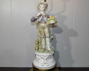 Dresden Lace Style Porcelain Lamp Boy With Apples 31 Tall Italian