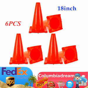 6pcs 18 Reflective Red Wide Body Safety Cones Construction Traffic Cone Sports