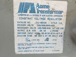 Acme Electric Transformer T 1 89435 Constant Voltage Regulator Style Ii 2 Used