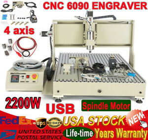 Usb 6090 4 Axis Cnc Router Engraver Mill Drill Woodworking 2200w 3d Spindle