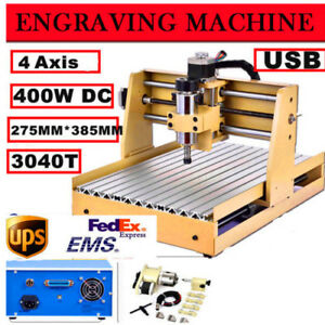 4 Axis 3040 Cnc Router Usb Engraver Engraving Cutter 400w Desktop 3d Cutting New