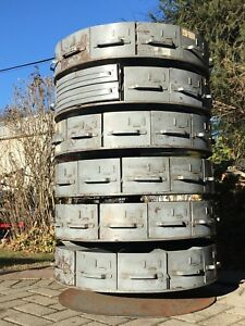 Antique vintage Rotabin Rotating Steel Bolt Cabinet Parts Bin Hardware Store