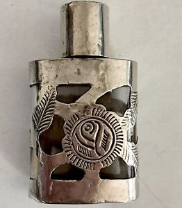 Vintage Sterling Silver Perfume Bottle Mexican Crafted Fine Condition