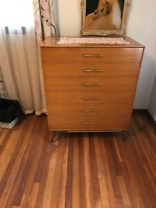Rway Furniture Mid Century Modern Walnut High Boy Sleek Brass Legs Rare