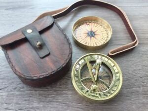 Larp Armory Brass Pocket Sundial Compass W Cover Leather Case