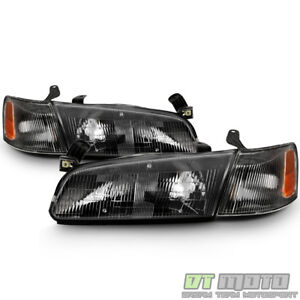 For 1997 1999 Toyota Camry Headlights Headlamps W Corner Lights Black Left Right