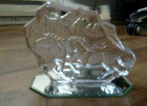 Horses Etched In Glass With Mirror Stand