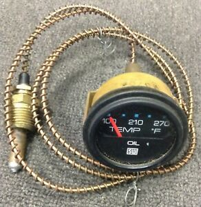 Stewart Warner 270 F Oil Temp Gauge With 6ft Connecting Pipe